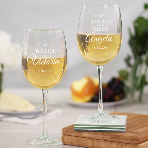 Bridal Party Engraved Wine Glass
