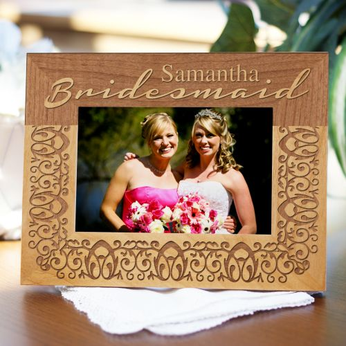 Engraved Bridal Party Bridesmaids Wood Picture Frames