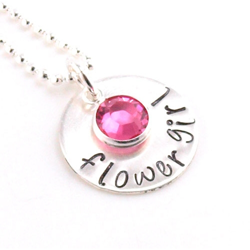 Flower Girl Hand Stamped Necklace