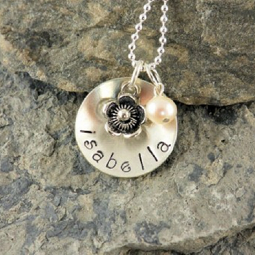 Personalized Hand Stamped Sterling Silver Flower Girl Necklace