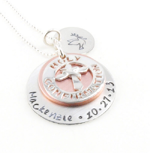 Personalized Holy Confirmation Hand Stamped Necklaces