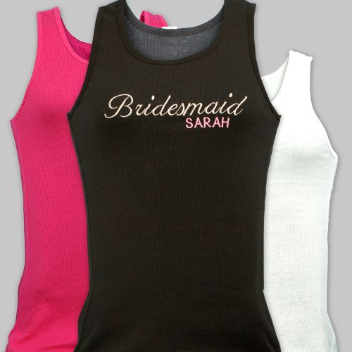 Embroidered Bridesmaids Bridal Party Tank Tops