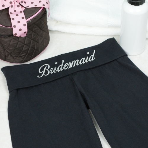 Embroidered Bridesmaids Bridal Party Yoga Pants