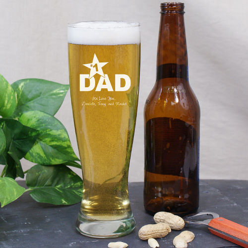 Number 1 Dad Engraved Fathers Day Pilsner Glass