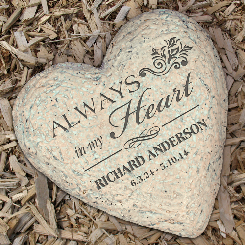 Engraved Small Memorial Heart Garden Stones