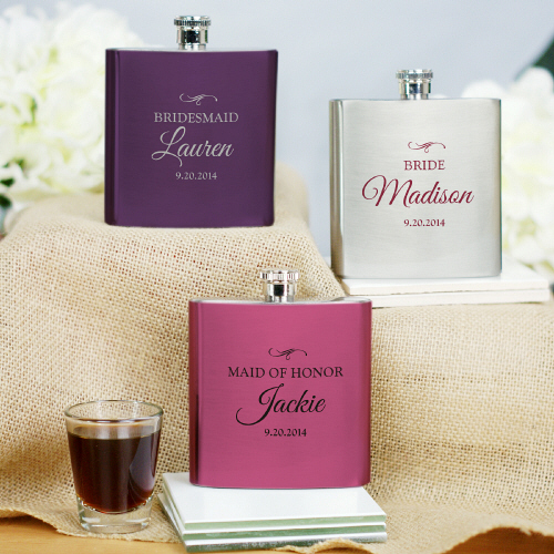 Personalized Bridesmaid Bridal Party Flasks