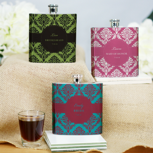 Personalized Bridesmaid Damask Bridal Party Flasks