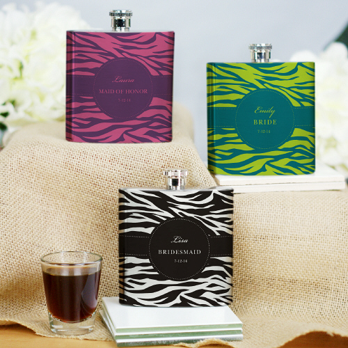Personalized Bridesmaid Zebra Bridal Party Flasks