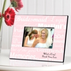 White on Pink Personalized Bridesmaid Picture Frames