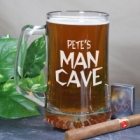 Man Cave Personalized Glass Beer Mugs
