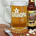 Number 1 Grandpa Engraved Glass Beer Mugs