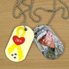 Yellow Ribbon Personalized Photo Military Dog Tags