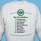 Top Ten Golfers Personalized Golf Sweatshirt
