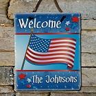 American Flag Personalized Patriotic Slate Plaque