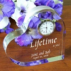 My Lifetime Engraved Wedding Keepsake Heart Clock