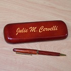 Script Personalized Rosewood Pen and Case Set