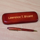 Block Font Personalized Rosewood Pen and Case Set