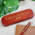 Personalized Groomsman Rosewood Pen and Case Set