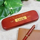 Uncle Personalized Rosewood Pen and Case Set