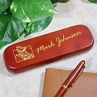 Personalized Hot Rod Engine Rosewood Pen and Case Set