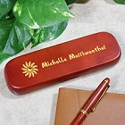 Flower Personalized Rosewood Pen and Case Set