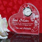 Engraved Soul Mates Keepsake Heart Clock
