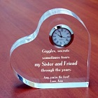 Through the Years Engraved Sisters Keepsake Heart Clocks