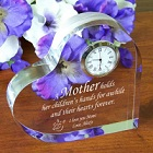 Engraved Mother Keepsake Heart Clock