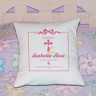 Personalized Baby Girl Christening Throw Pillow