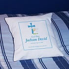 Personalized Baby Boy Christening Throw Pillow