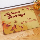 Personalized Autumn Greetings Welcome Doormat