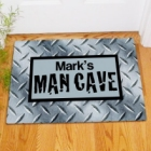 Man Cave Diamond Plate Personalized Doormats