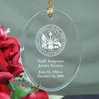 U.S. Army Memorial Personalized Oval Glass Ornaments