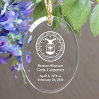 U.S. Air Force Memorial Personalized Oval Glass Christmas Ornaments