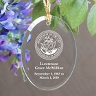 U.S. Navy Memorial Personalized Oval Glass Ornaments