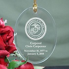 U.S. Marines Memorial Personalized Oval Glass Christmas Ornaments
