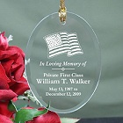 In Loving Memory Personalized Military Memorial Glass Christmas Ornaments