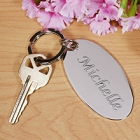 Engraved Bridesmaid Silver Oval Key Chain