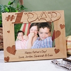 Number One Dad Personalized Wood Picture Frames