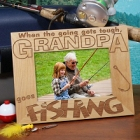 Goes Fishing Personalized Wood Picture Frame