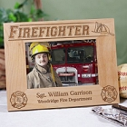Personalized Fireman Wood Picture Frames