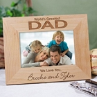 World's Greatest Dad Personalized Wood Picture Frames
