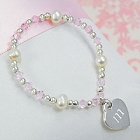 Engraved Flower Girl's Heart Charm Bracelets