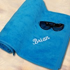 Embroidered Blue Beach Towels