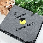 Embroidered Graduation Fleece Throw Blankets