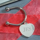 Engraved Bridesmaid Initial Silver Heart Keyrings