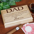 Thanks Dad Laser Engraved Wooden Valet Box