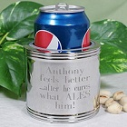 Engraved 5-Line Silver-Plated Can Cooler Koozie