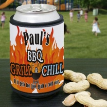 Personalized BBQ Grill & Chill Can Wrap Kooziess