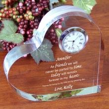 Friends Forever Engraved Keepsake Heart Clocks